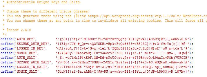 Beschrijving: secret keys wordpress